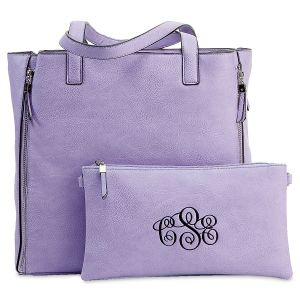 Lavender Carry-All Nora Tote Bag with Matching Personalized Crossbody Purse