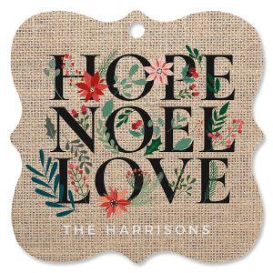 Hope Noel Love Personalized Ornament Square Bracket