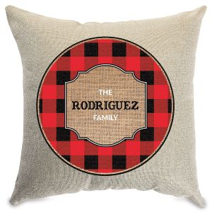 Plaid Personalized Pillow Natural