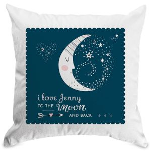 To The Moon Personalized Pillow Natural