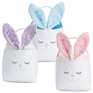 Personalized Bunny Baskets with Striped Ears