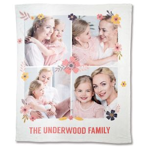 Fleece Floral Photo Throw
