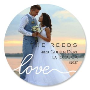Love Round White Caption Personalized Photo Address Label