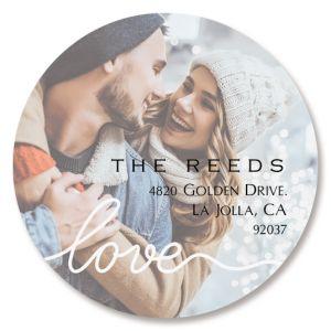 Love Round White Caption Personalized Photo Address Label