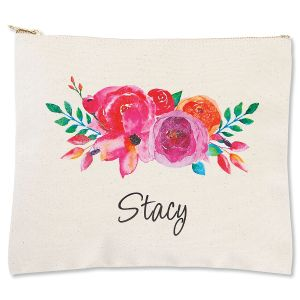 Personalized Floral Name Zippered Canvas Pouch
