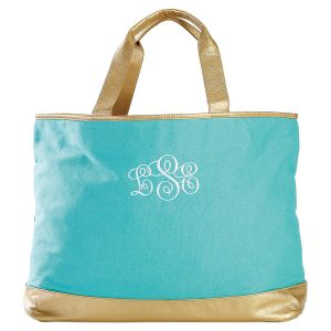 Personalized Mint Canvas & Vegan Leather Tote