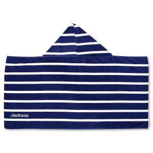 Personalized Navy Stripe Hooded Towel