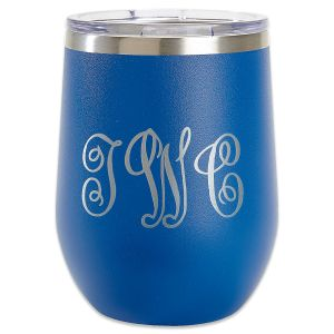 Personalized Royal Blue Wine Tumblers