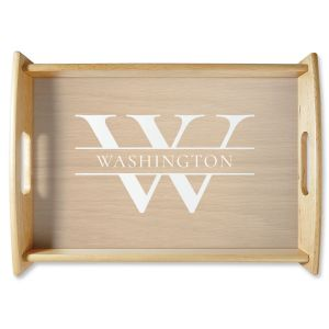 Initial & Last Name Natural Wood Serving Tray