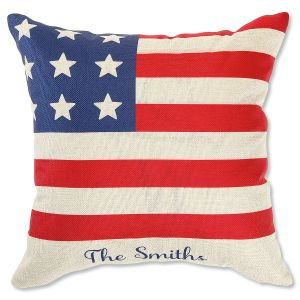 Personalized Flag Natural Canvas Pillow