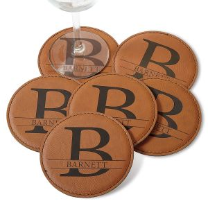 Initial and Family Name Coaster Set