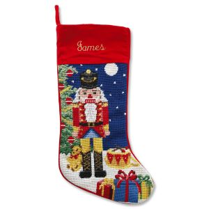 Nutcracker Heirloom Needlepoint Personalized Christmas Stocking