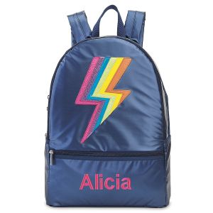 Personalized Metallic Rainbow Lightning Backpack