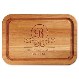 Alder Flourish Scroll Personalized Wood Cutting Board