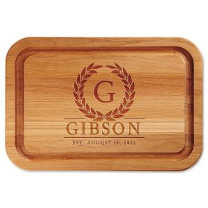 Alder Laurel Wreath Personalized Wood Cutting Board