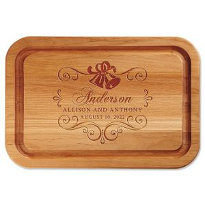 Alder Wedding Bells Personalized Wood Cutting Board