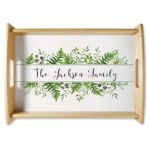 Family Name & Greenery Natural Wood Serving Tray