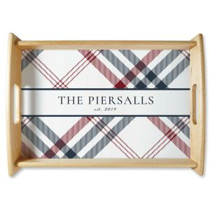 Plaid Natural Wood Serving Tray