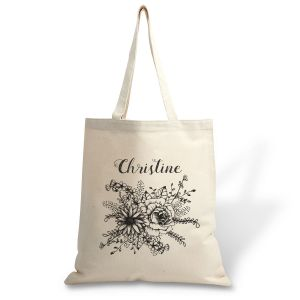 Floral Name Canvas Tote