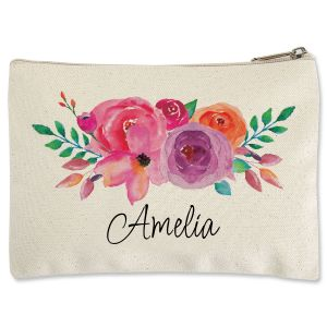Floral Name Zippered Pouch