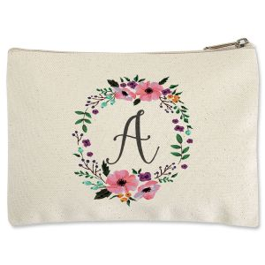 Initial in Wreath Zippered Pouch
