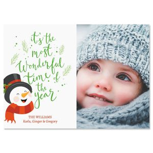 Laughing Snowman Personalized Photo Christmas Cards