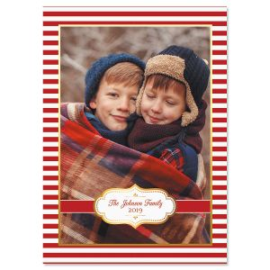 Red Stripes Personalized Photo Christmas Cards