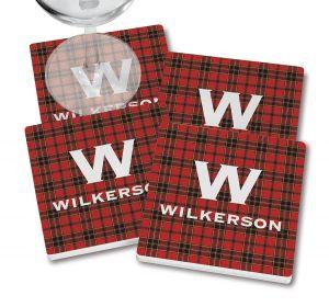 Red-Black Buffalo Plaid Coasters  with wine glass