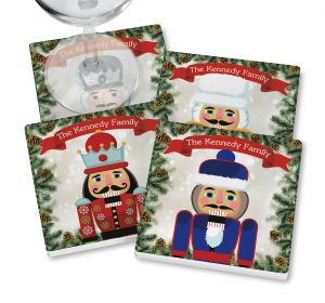 Nutcracker Coasters with wine glass