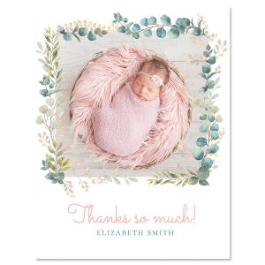 Vertical Botanical Thank You Photo Note Cards