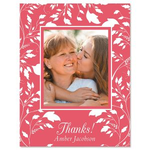 Vertical Floral Thank You Photo Note Cards