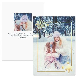 Golden Snowflake Vertical Personalized Photo Christmas Cards
