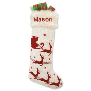 Sleigh & 5 Reindeer Red & Cream Stocking