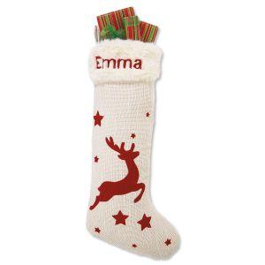 Stars & Reindeer Red & Cream Stocking