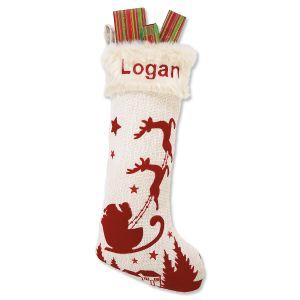 Sleigh & 2 Reindeer Red & Cream Stocking
