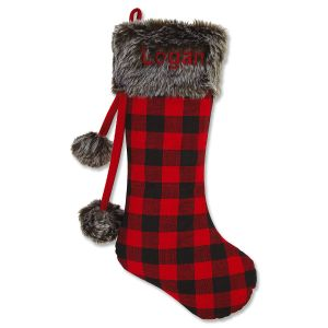 Buffalo Plaid & Fur Personalized Stocking