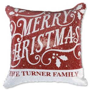 "Sequined ""Merry Christmas"" Personalized Pillow"