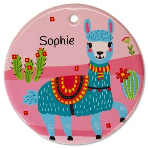 Round Personalized Llama Ceramic Ornament