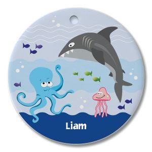Round Personalized Under the Sea Ceramic Ornament