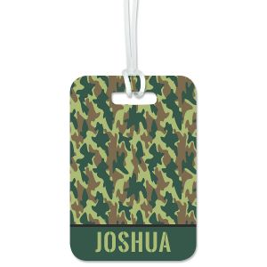 Green Camo Luggage Tag