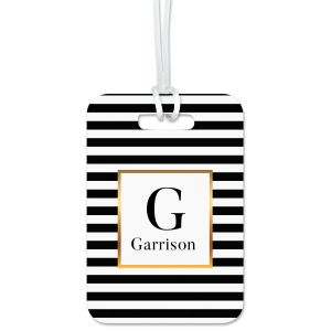 Striped with Gold Luggage Tag