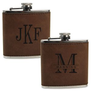Personalized Brown Flask