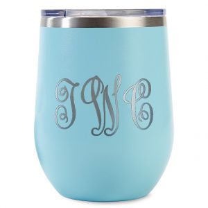 Personalized Teal Wine Tumblers