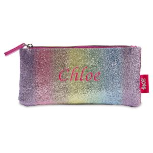 Personalized Pink striped Glitter Pouch