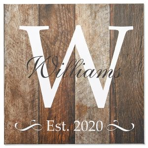 Personalized Canvas with Initial, Last Name, and Year