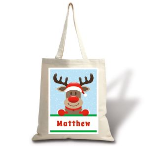 Personalized Reindeer Holiday Canvas Tote