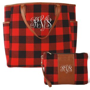 Personalized Buffalo Plaid Tote & Wristlet