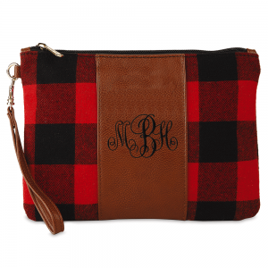 Personalized Buffalo Plaid Wristlet