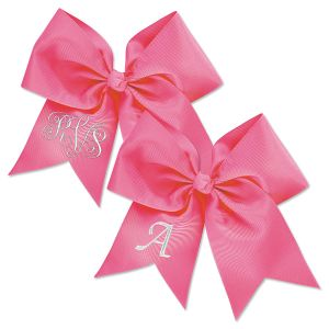 Pink Monogrammed Hair Bow