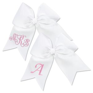 White Monogrammed Hair Bow